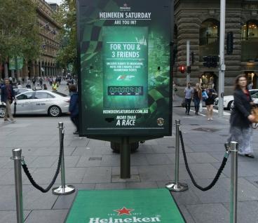 JCDecaux Heineken live feed ticket dispenser