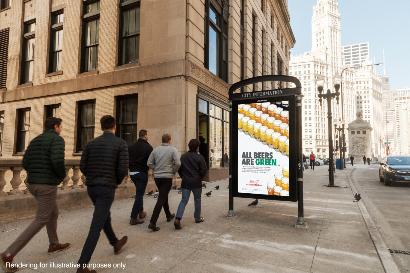 """Chicago CIP panel with Budweiser """"Green"""" beer initiative ads."""