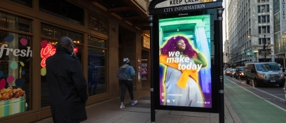 Chicago ad panel displaying ad for Instagram's new feature Reels