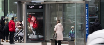 Street Art for Mankind campaign on JCDecaux bus shelter