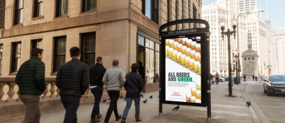 "Chicago CIP panel with Budweiser ""Green"" beer initiative ads."